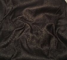 Silk BROCADE Fabric BLACK SCROLL 1/3 Yard remnant