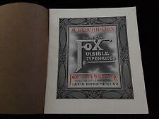 The Fox Visible Typewriter A Description Vintage Brochure