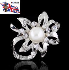 Brooches Fashion Women Crystal Rhinestone Pearl Wedding Broches Pin Jewelry