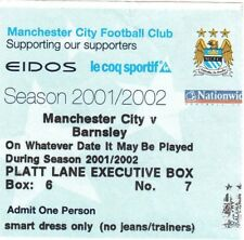 Billete-Manchester City v Barnsley 06.04.02 Caja Ejecutivo