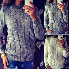 Winter Womens Long Sleeve Knitted Sweater Cardigan Jumper Pullover Tops Knitwear