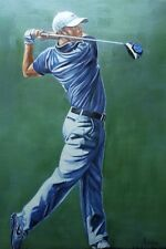 Golf, ,Rory Mcllroy Large Oil On Canvas Painting.