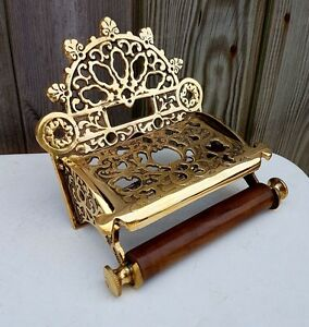 Victorian Toilet Roll Holder Solid Brass With Wooden Loop