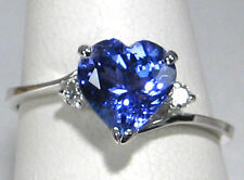 Tanzanite Ring 14K White gold Solitaire with Diamond CERTIFIED NATURAL 1.70ct