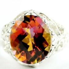 925 Sterling Silver Ladies Filigree Ring, Twilight Fire Topaz, SR114