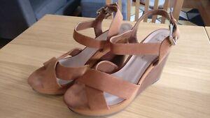 New Look Tan Strap Wedge Heels Summer Ladies Size 6 Wide Fit
