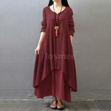 Women Ethnic Boho Cotton Linen Casual Long Sleeve Maxi Dress Gypsy Shirt H7U4