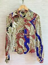 Just Cavalli Size 40 Blouse Silk Paisley Long Sleeve Multicolored Size 10 US