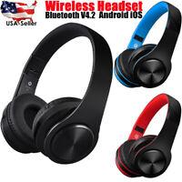 Wireless Handfree Headphones Foldable Stereo Earphones Super Bass Headset Mic US