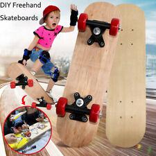 Kids 17 inch Mini Skateboard Double Kick Complete Deck Diy Board Skate Wood