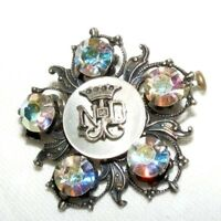 VINTAGE RELIGIOUS NOTRE DAME WHITE METAL CRYSTAL BROOCH
