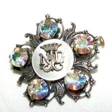 More details for vintage religious notre dame white metal crystal brooch