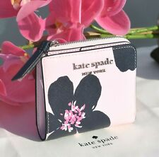 🌸 NWT Kate Spade Cameron Grand Flora Small L-zip Bifold Leather Wallet New $129