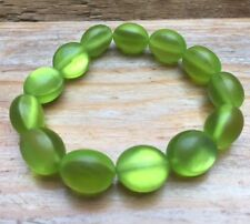 Vintage Style Green Glass Look Bead Bracelet/Vivid Lime Green/Retro/Stretchy