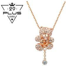 Cute Lovely 18K Rose Gold Filled Crystal Teddy Bear Pendant Necklace Gift