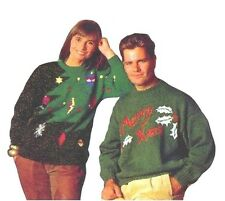 Lady's and Man's DK Christmas Sweaters Vintage Knitting Pattern Instructions