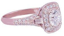 14k Rose Gold Round Cut Diamond Engagement Ring Bridal Natural Halo Prong 1.65ct
