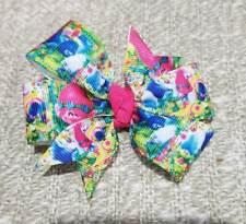 3inches Trolls poppy pinwheel hair bow toddler baby girl nonslip alligator clip