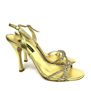 Claudio Milano Leather Shoes Gold Crystal Size 39 (US 8.5) #385 Italy