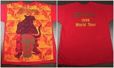 Vintage Mens L/Xl 1999 Carlos Santana World Tour Graphic All-Over Red T-Shirt