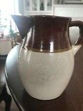 Vintage Brown And White Pitcher with Gold Stripe