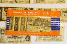 American Civil War Confederate Replica Currency Money Parchment Banknotes Set D