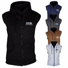 Plain Hoodie Sleeveless Gym Top Sweat Shirt Fleece Hood Fitness Exercise
