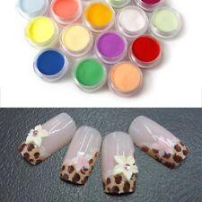 18 Mixed Colors Acrylic Nail Art Tips UV Gel Powder Dust 3D DIY Decor Set Shiny