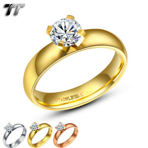 TT Stainless Steel ! Carat Engagement Wedding Band Ring Choose Colour (R182)