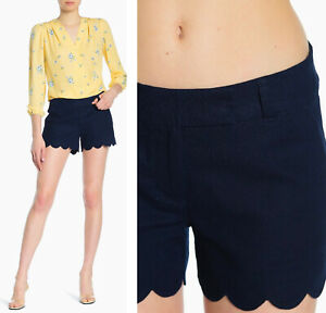 NEW J. Crew Women's Size 2 Scalloped Hem Linen Blend Shorts Navy Blue