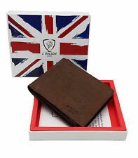 Mens Designer Wallet RFID SAFE Blocking Real Leather Compact Contactless Card