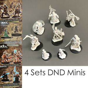 8PCS Wizkids DND Pathfinder Battles Deep Cuts Dwarf Sorcerer Fighter Miniatures