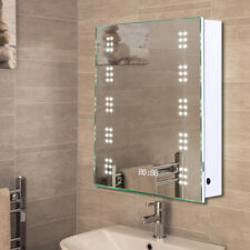Bathroom LED Mirror Cabinet with Clock/Shaver Socket/Sensor Switch/Demister Pad