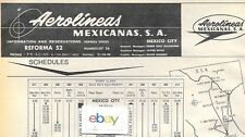 AEROLINEAS MEXICANAS S.A. 1959 AD & SCHEDULE-ROUTE MAP-FARES DC-4 FIESTA FLIGHT