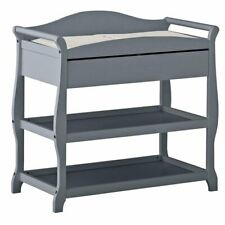 Stork Craft Aspen Sleigh Changing Table with Drawer in Gray