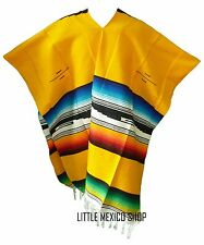 TRIBAL SERAPE Mexican PONCHO - YELLOW - ONE SIZE FITS ALL Blanket Gaban