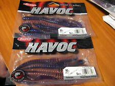 "2 Packs Berkley Havoc 10"" Federale Soft Plastic Fishing Baits Purple Pumpkin Red"