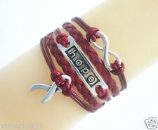 Infinity/Hope/Cancer Awareness Ribbon Charms Leather Braided Bracelet - Burgundy