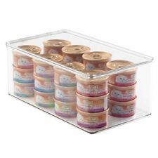 mDesign Long Plastic Pet Food Stackable Storage Container Box, Lid