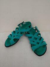 ARCHE Made in France,Turqouise Nubuck Suede,Block Heel Women's Sandals,EU36/US6