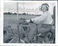 1961 Mrs Noel Hackman Driving Combine Holts Summit Missouri Press Photo