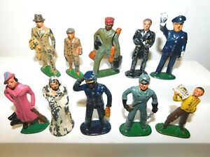 Old 1930s BARCLAY Lead Dimestore Figures, Assorted Civilian Poses, 10 Pieces