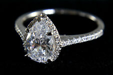 14KT White Gold With Certified 2.45CT Awesome Pear Shape Diamond Engagement Ring