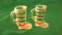 PAIR OF CLEAR GLASS STOLAR COSMIC COWBOY BOOTS SHOT GLASS OR TOOTHPICK HOLDER