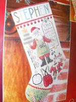 """Janlynn Counted Cross Stitch """"Santa Stuff""""  Christmas Stocking Customizable"""
