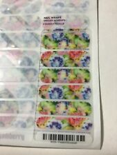New Jamberry Nail Wrap Full Sheet Faded Bouquet Rose Floral Pink Blue Green