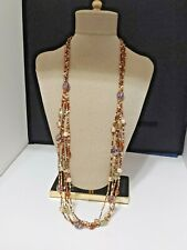 G.H. Bass & Co. Necklace Multi Strand Brown Cream New With Tag
