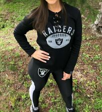 NFL Oakland Raiders Lace Up Soft Poly Jersey Style Sweater, Black, Women's S