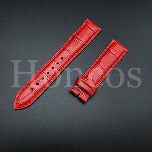 Mens Genuine Leather Watch Strap Wristwatch Belt Bands 20mm RED