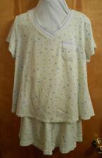 Karen Neuburger pajamas women L short set green butterfly cotton blend pull on